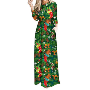 Christmas Tree Printed Green Dress Autumn Women  Clothing Maxi Dress - DealsBlast.com