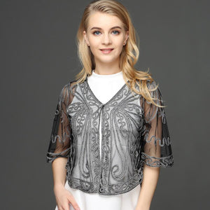 Large Size Women Cardigan Bolero Coat Half Flare Sleeve Butterfly Pattern Embroidery Ribbon Lace Mesh Shrug Crochet Blusas Top - DealsBlast.com