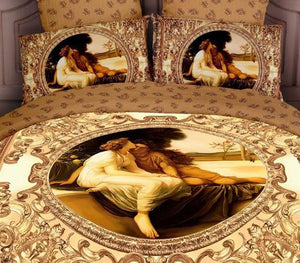 Luxury 100% cotton 3D oil painted effect People/Lovers/Ladies/Figure/Couple 4pcs comforter/duvet/quilt cover Bedding set - Deals Blast