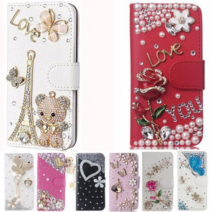 Leather Bling Diamond Rhinestone Flip Wallet Phone Case For Samsung Galaxy note 8 - DealsBlast.com
