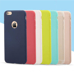 Luxury Fashion Cute Candy Colors Soft TPU Silicon Phone Cases For iPhone 6 6s 5 5s SE 7 7 Plus Coque Capa with logo window - DealsBlast.com