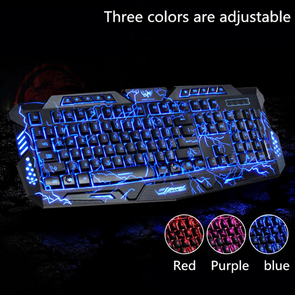 M200 Purple/Blue/Red LED Breathing Backlight Pro Gaming Keyboard Mouse Combos USB Wired Full Key Professional Mouse Keyboard