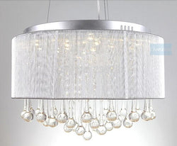 Modern Drum Chandelier Lamp Fixtures With  Rain Drop  Decoration - DealsBlast.com