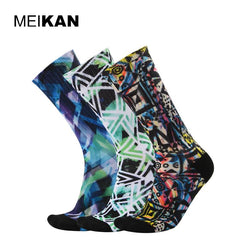 MEIKAN Men's Geometric Terry Socks 3D Printed Ciclismo Cycling Irregular Hiking Socks Calcetines Deporte Sport Sokken 3Pair/lot
