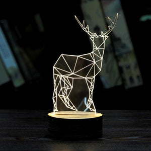 Deer 3D Unique 2017 Newest Bedroom Decoration Unique  Xmas  Lighting Effects Optical Illusion Home Decor LED Table Lamp - DealsBlast.com