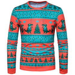 Men Autumn Winter Christmas Printing  Long-sleeved T-shirt  Sweatshirt - Deals Blast