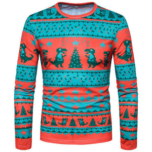 Men Autumn Winter Christmas Printing  Long-sleeved T-shirt  Sweatshirt - DealsBlast.com