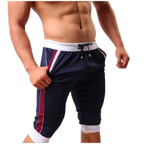Men Elastic Brand Shorts Summer Leisure Active Shorts Mens Fashion Fit Pacthwork Casual Knee Length Shorts