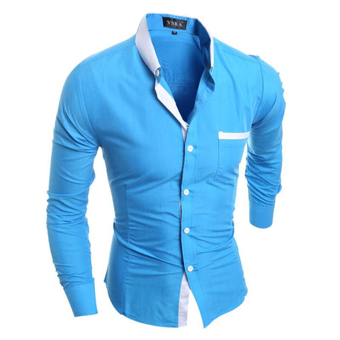 Men Shirt Luxury Brand Long Sleeve Shirts Casual Mens Simple Solid Single Breasted Slim Fit Dress