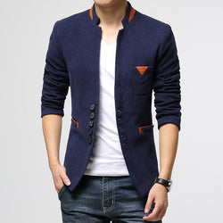 Mens Autumn Winter Personality Color Leisure Small Suit Stand Collar Slim Fit Men's Coat Male Jacket Blazers Outdoors M-XXXL - DealsBlast.com
