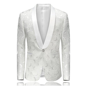Mens Floral Printed Blazer Jacket Stage Costumes for Singers 2017 Fashion Shawl Collar Men Slim Fit Blazer White - DealsBlast.com