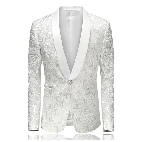 Mens Floral Printed Blazer Jacket Stage Costumes for Singers 2017 Fashion Shawl Collar Men Slim Fit Blazer White