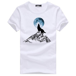 Mens T Shirts Fashion White Men Casual T Shirt Homme Slim Fit Wolf Printed Short Sleeve T-Shirt Men Clothes - Deals Blast