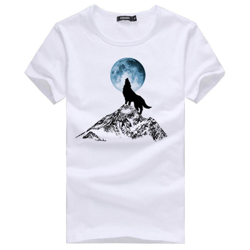 Mens T Shirts Fashion White Men Casual T Shirt Homme Slim Fit Wolf Printed Short Sleeve T-Shirt Men Clothes - DealsBlast.com