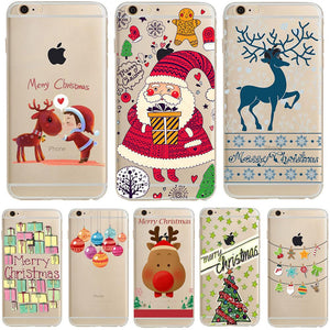Merry Christmas Gift Celebration Santa Claus Deer Tree for iPhone 8 7 Plus 6 6s 5 5s SE X Soft TPU Silicone Phone Case Cover - DealsBlast.com