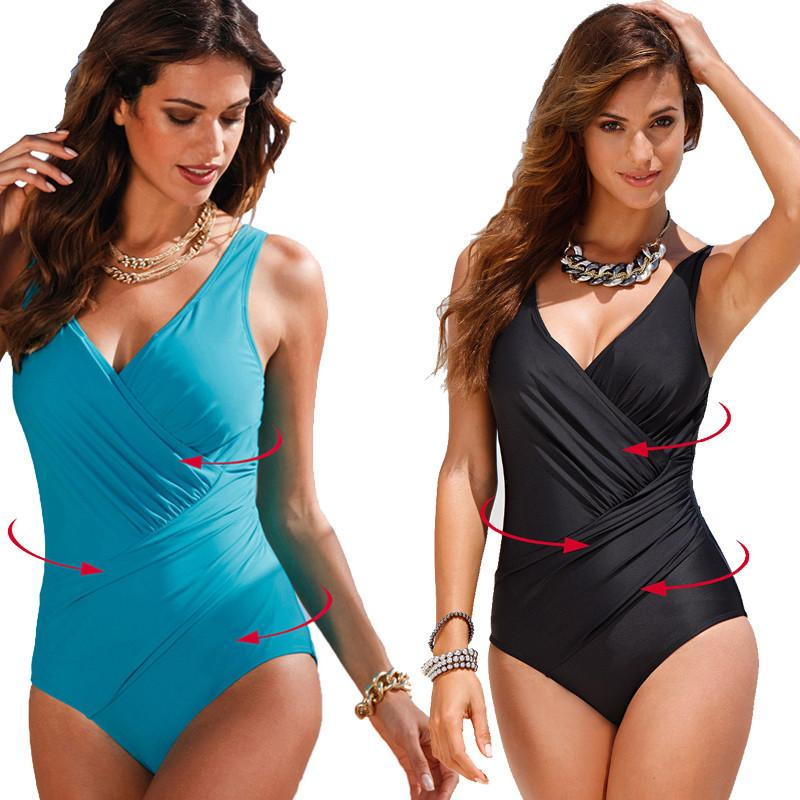 0ffc453551 One Piece Swimsuit New Backless Sexy Women Swimwear Plus Size Deep V  Brazilian Biquini Bathing Suit