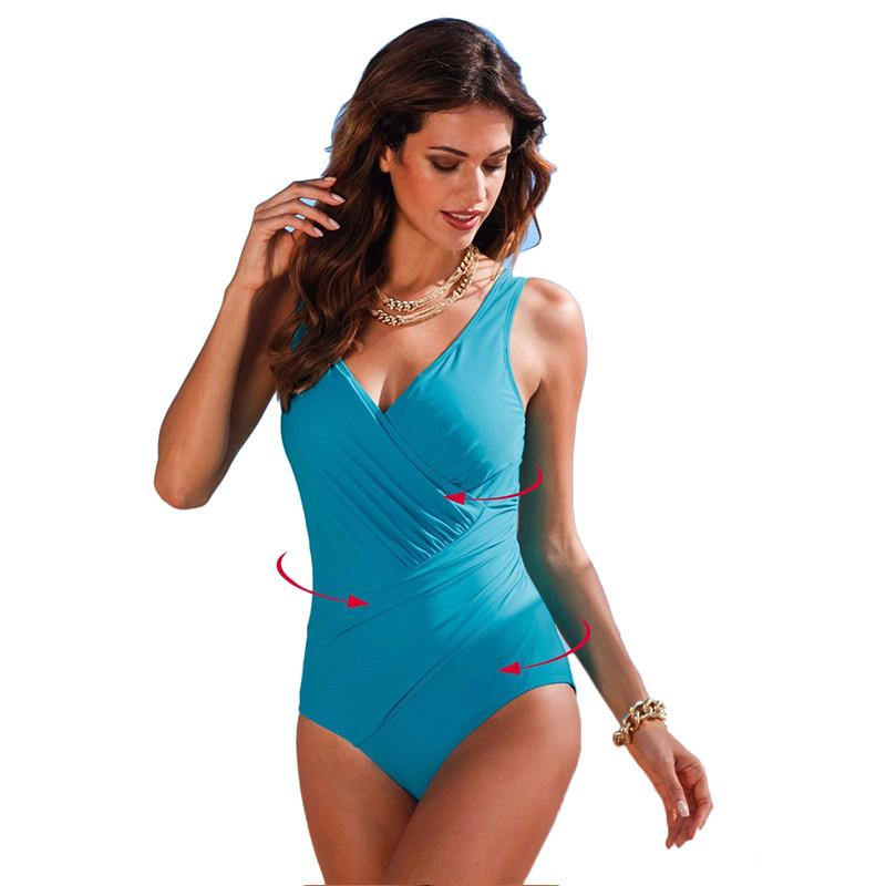 e345e0cd30 ... One Piece Swimsuit New Backless Sexy Women Swimwear Plus Size Deep V  Brazilian Biquini Bathing Suit ...