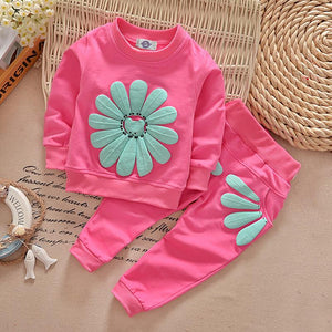O-neck Pullover New Spring And Autumn Season Children Clothes Sports Children's Suits Sunflower - DealsBlast.com