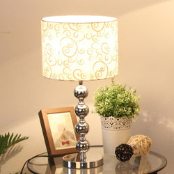 Modern Chrome Bedroom Table lamps Cylinder Fabrics Shade - DealsBlast.com