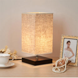 Modern Table Lamp LED Light Linen Cloth Shade Bedroom - DealsBlast.com
