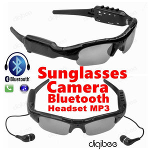 Multi-Function Sunglasses Camera Glasses 480P Digital Video Recorder MP3 Bluetooth Headset with Mic Microphone Mini Camera DV - Deals Blast
