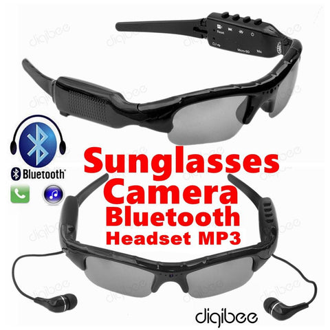 Multi-Function Sunglasses Camera Glasses 480P Digital Video Recorder MP3 Bluetooth Headset with Mic Microphone Mini Camera DV