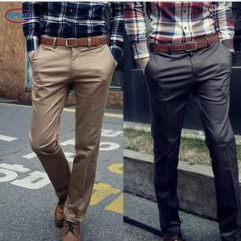 New Delivery Men's Solid Straight Pants Han Fashion Winter Men Casual Long Trousers