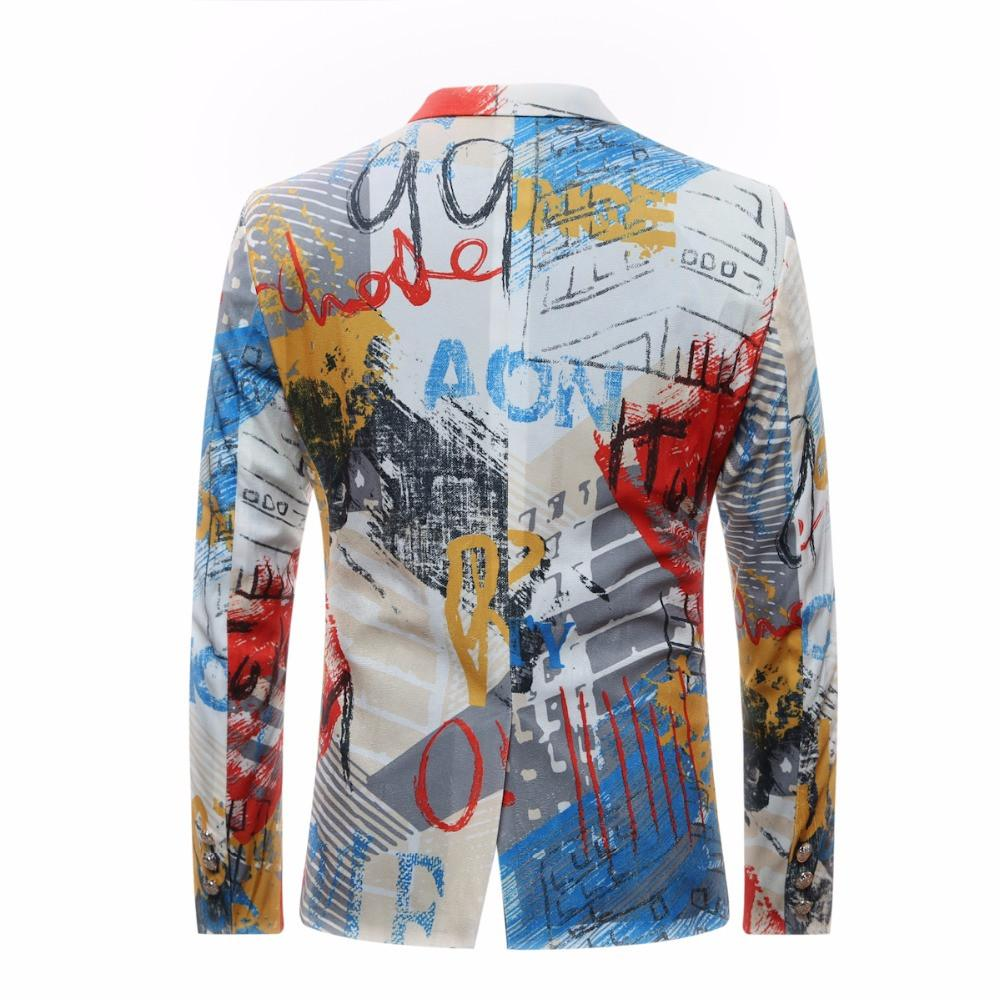 Men Floral Jacket Suit Painting Mens Blazers Fashion Suits For Men Top Quality Slim Fit Party Blazer Costume Homme