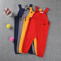 Spring Children Kids Candy Color Bib Harem Pants 1-5Yrs Boys Girls Pocket Knitted Overalls Jumpsuits Baby Clothing - DealsBlast.com