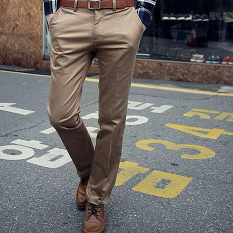 New Arrival Fashion Men Pants Casual Slim Fit Pants Mens Korean Stylish Solid Pants Flat Front Slacks Trousers