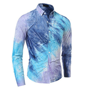 New Arrival Mens Shirt Fashion Slim Fit Dress Shirt Long Sleeve Tie Dye Color Men Shirt Long Sleeve Floral Shirts - DealsBlast.com