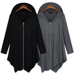 Women Loose Coat Solid Long Sleeve Irregular Hooded Jackets Maxi Zipper - DealsBlast.com