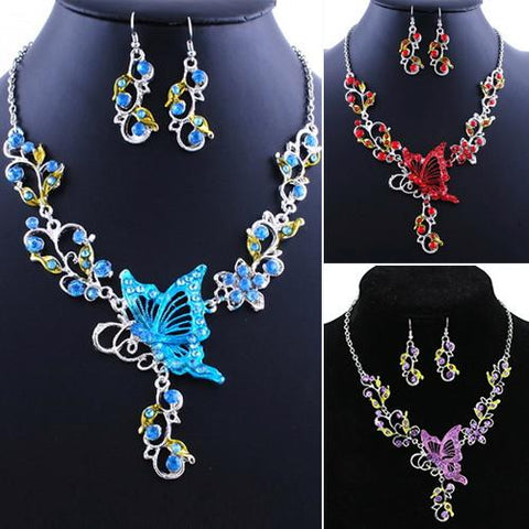 Butterfly Flower Rhinestone Pendant Necklace Earrings Jewelry Set
