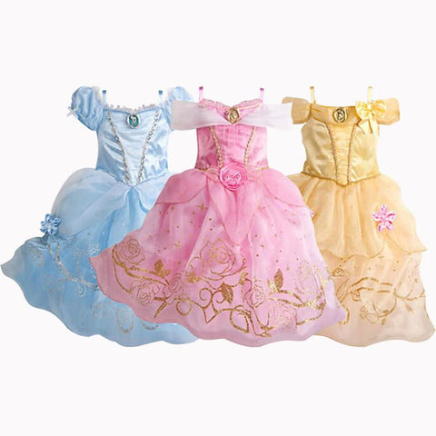 New Christmas Cinderella Girls Dress Snow White Princess Dresses For Girls Rapunzel Aurora Children Cosplay Kids Clothing