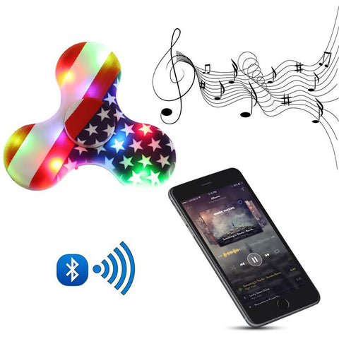 New Colorful LED Light Bluetooth Music Fidget Spinner Plastic EDC Hand Spinner