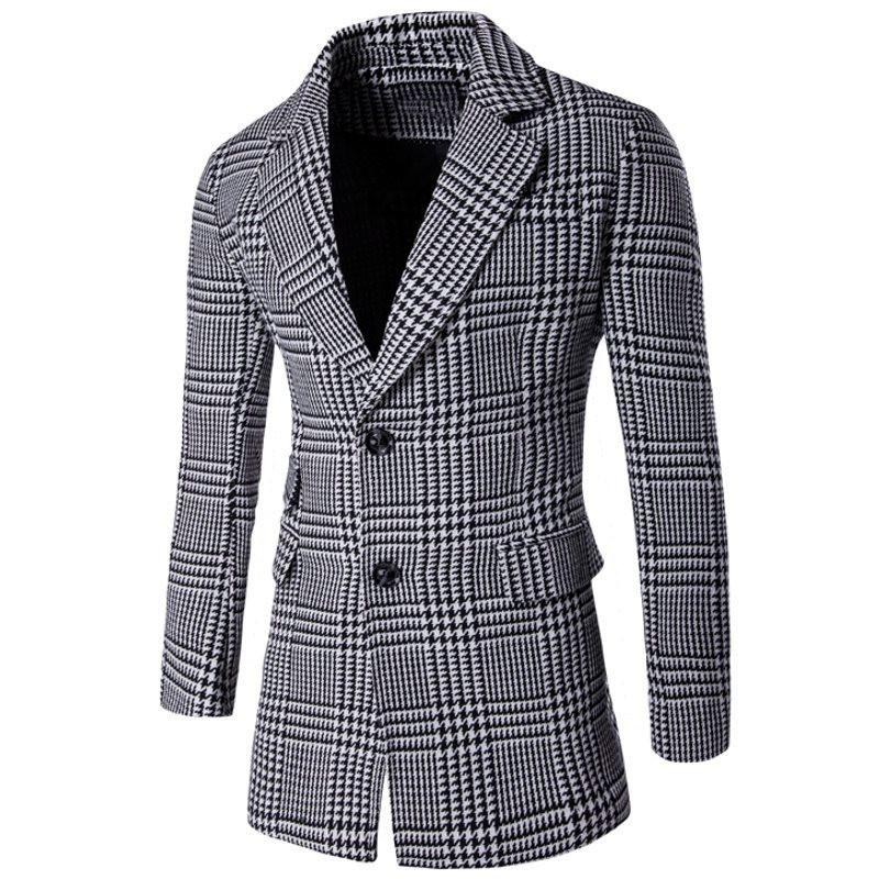 Men Blazers Suit Collar Coat Double-Breasted Slim Fashion Plaid Long Section Personality Windbreaker Plus Size - DealsBlast.com