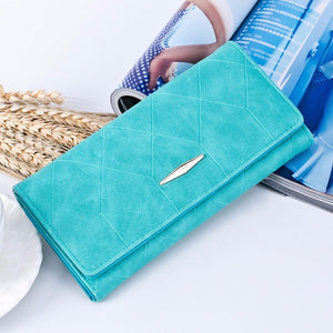 New Fashion PU Leather Women Wallets Vintage Plaid Long Wallets Card Holder Female Coin Purse Ladies Money Bag - Deals Blast