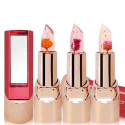 New Natural Flower Gold Foil Lipstick Temperature Changed Lip Balm Moisturizer Lips Makeup Crystal Jelly Lipstick 3 Colors - Deals Blast