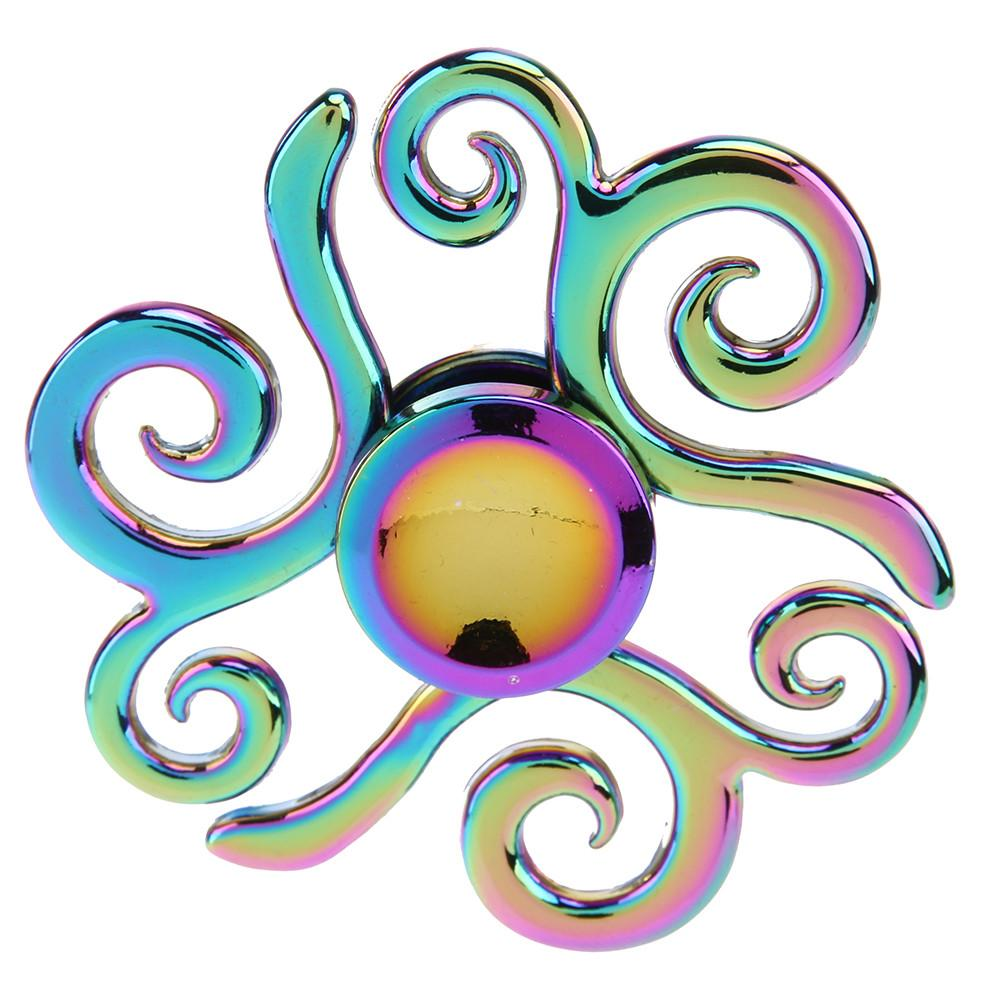 New Rainbow Fidget Spinner Metal Colorful Hand Spinner Zinc Alloy EDC Anti Stress Focus Tri Spinner Fidget Toys Gyro Kids Gift
