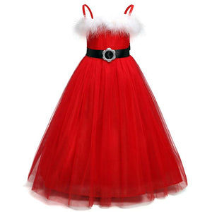 Girls Long Red Christmas Dresses Baby Girl Lace Clothes Baby Children  Xmas Tutu - DealsBlast.com