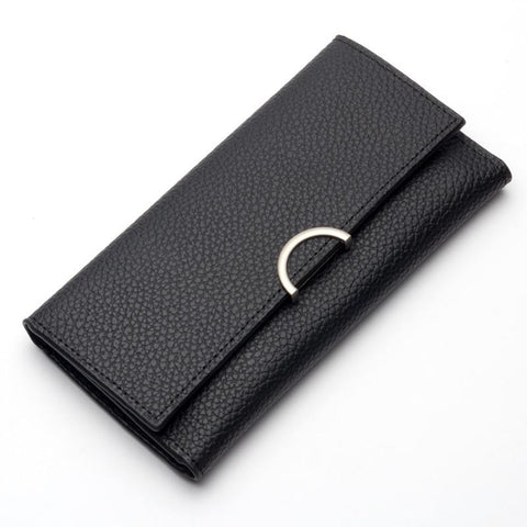 Leather Women Wallet Long thin Purse multiple Cards Holder Clutch bag Standard Wallet