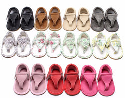 New arrived Summer infant Flip Flops Floral sandals 11 colors Hot sale Pu leather Baby moccasins Rubber sole Baby sandals 0-24 M - Deals Blast