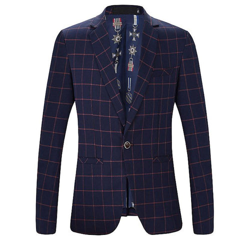 New men's spring and autumn 2016 Korean fashion business casual Plaid Button a minimalist slim color suit jacket XL