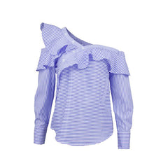 One shoulder off ruffles blouse shirt women tops spring Casual blue striped shirt Long sleeve cool blouse winter blusas
