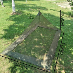 Outdoor  Polyester Foldable Camping Hiking Tent Bed Portable Triangle Anti-Mosquito Net Army Green Mesh - DealsBlast.com