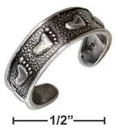 Sterling Silver Antiqued Footprints Toe Ring