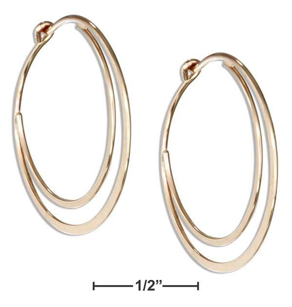 12 Karat Gold Filled 25mm Flat Bottom Double Hoop Earrings - DealsBlast.com