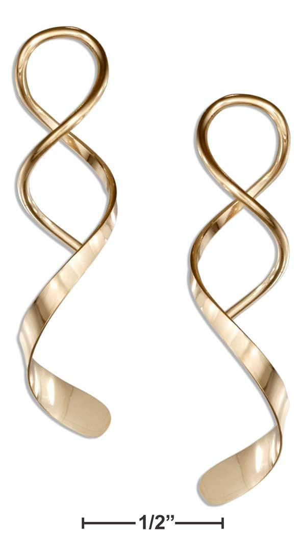 12 Karat Gold Filled Spiral Streamer With Wide End Wire Earrings - DealsBlast.com