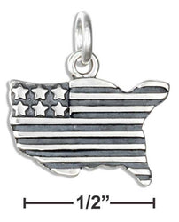 Sterling Silver United States Shaped American Flag Charm - DealsBlast.com