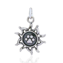 Sterling Silver You Light Up My Life Sun With Dog Paw Print Charm - DealsBlast.com